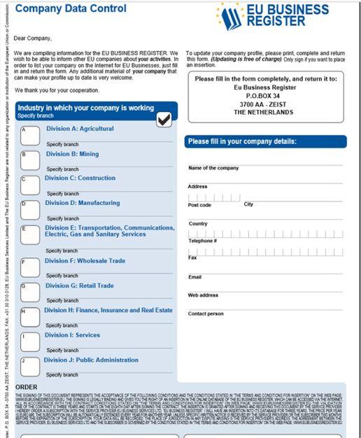 Spam e-mail fra EU Business Register